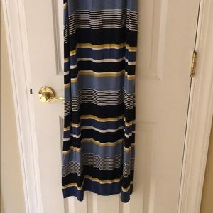 Navy Mustard striped maxi skirt